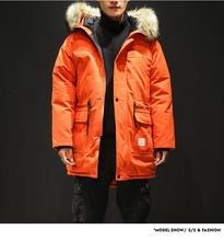 Męskie kurtki zimowe i płaszcze ciepłe długie kurtki wysokiej jakości mężczyźni z kapturem dorywczo zimowe kurtki parki grubsze ciepłe kurtki puchowe 5XL tanie tanio CLASSDIM Silk-jak Bawełna Poliester COTTON Luźne Na co dzień Grube REGULAR Kieszenie Odpinany kołnierz Stałe zipper
