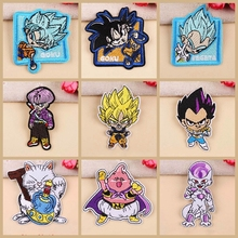 Nicediy Anime Dragon Ball Goku Patches Cartoon Embroidered Patch Iron On For Clothing Stickers Garment Applique Stripe