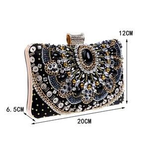 Image 5 - SEKUSA Vintage style femmes perlées sacs de soirée broderie petit jour embrayages mariage mariée sacs à main diamants case sac à main