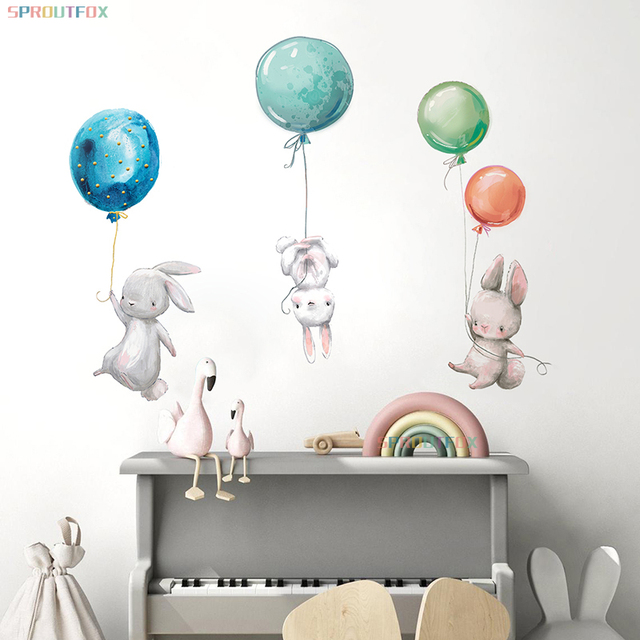 Animal Cartoon Wall Stickers For Kids Rooms Balloon Bunny Decorative 3D Wall Stickers For Children Rooms Large Kids Wall Decals 1