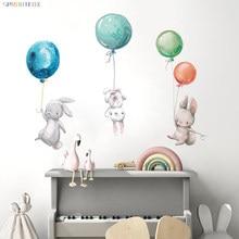 Pegatinas de pared de conejos y globos coloridos para decoración de habitación de niños, pegatinas de pared de conejo gris, adhesivo para pared de dormitorio infantil