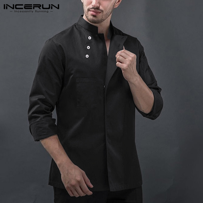 INCERUN Fashion Men Pure Color Long Sleeve Stand Collar Chef Jackets Bakery Kitchen Workwear Clothing Catering Working Uniforms