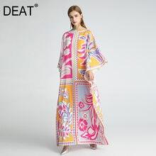 Deat 2021新夏のファッションドレスの女性のボヘミアンスタイルプリントロース床ヒットカラートール多素子エレガントなHT053