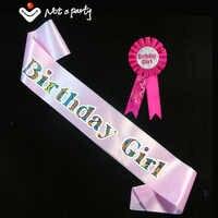 Birthday girl & boy brooch sash set pink women blue men ribbon happy birthday badge 18 21 adult event party supplies fun game