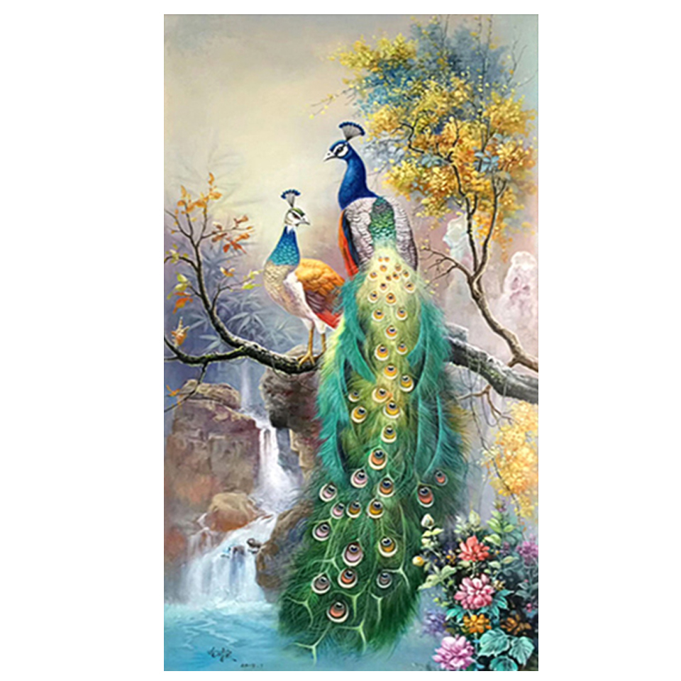 Fast delivery couple peacock 5D DIY squareround diamond painting canvas art inlaid cross stitch diamond mural decoration Christmas gift