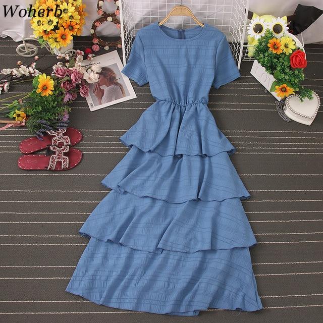 Woherb Vestido Midi Elegante Summer Sweet Ruffle Dress Women Short Sleeve Cake Dresses Korean Solid Cute Dress Robe Femme 1