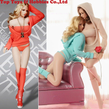 Fire Girl Toy 1/6 FG052 Sexy Female Knitted Sweater Suit Hoodie Clothes Set For 12 Action Figure Toys Accessories