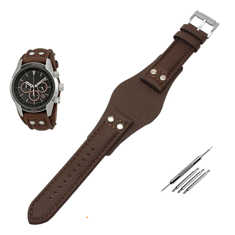 Genuine Leather Watch Strap For F-ossil CH2564 CH2565 CH2891CH3051 Wristband 22mm Black Brown Tray Watchband With Rivet Style