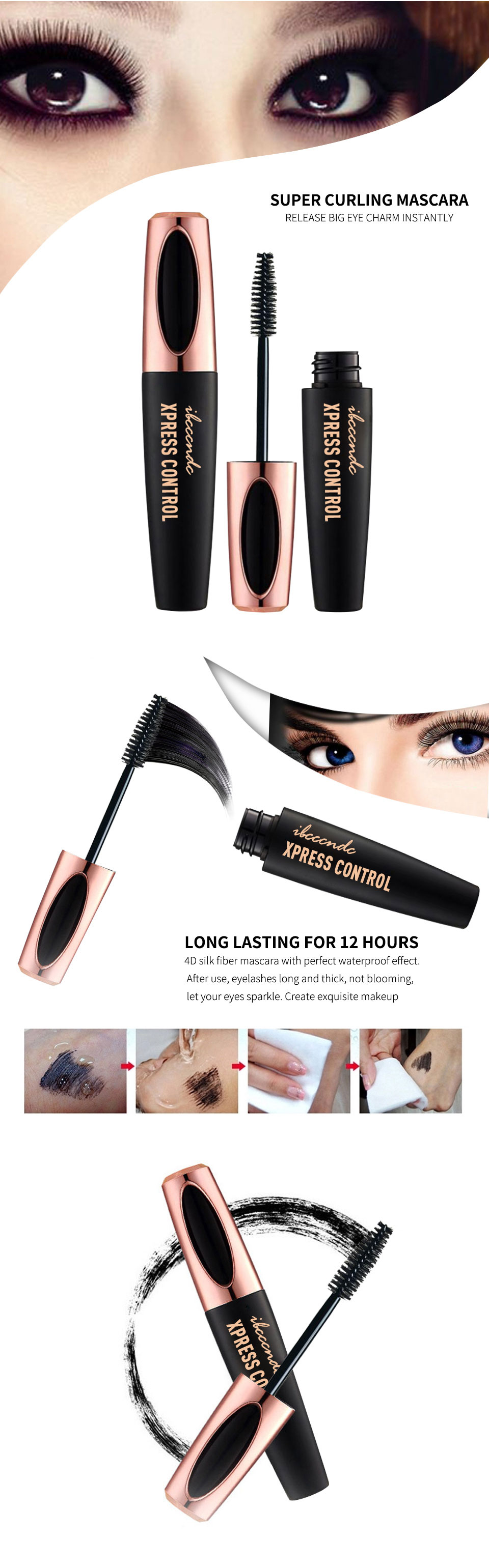 4D Silk Fiber Waterproof  Colorful Mascara
