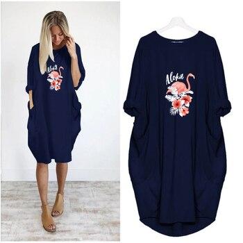 цена на Summer Women Dresses Flamingo Floral Print Clothing Romantic Loose Women Clothes Plus Size Mini Dress Casual Female Fashion