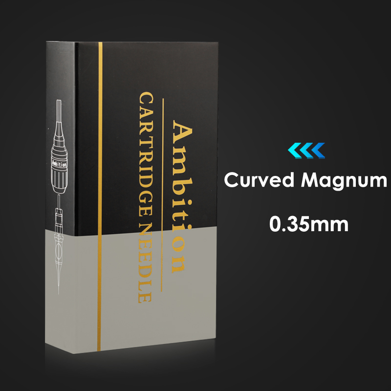 Ambition Tattoo Needles Cartridge Curved Magnum 12# 0.35mm L-Taper 20pcs Tattoo Supply Compatible With Tattoo Pen Machine