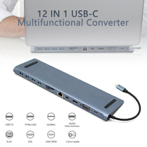 Image 2 - USB C HUB 12 en 1 tipo c a PD 4K HDMI MiniDP VGA SD/TF Reader RJ45 Ethernet USB3.0 3,5mm USB Multi adaptador para MacBook Pro iPad