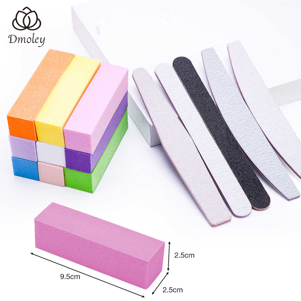 Dmoley 1/10Pcs Colorful Sanding Sponge 1Pcs Nail Buffer File Blok Grinding Polishing Alat Manikur Kuku Seni alat