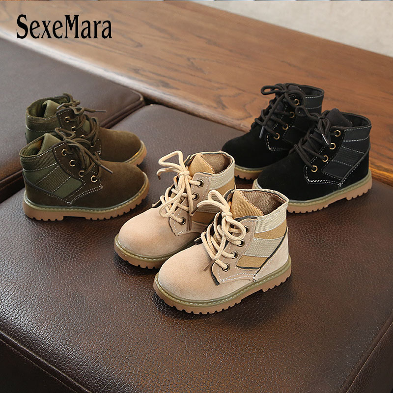 2019 New Boys Girls Children Shoes Boots Leather Cool Little Kids Outdoor Baby Toddler Martin Boots Boy Short Boots Child C10073