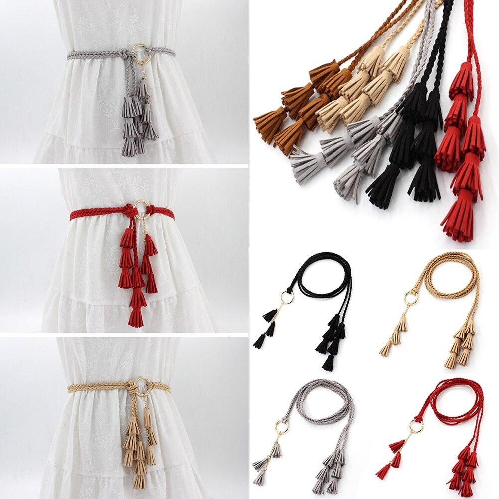 Fashion Women Solid Color Braided Tassel Belt 2019 New Boho Girls Thin Waist Rope Knit Belts For Dress Waistbands Accessories