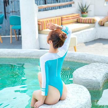 BITYSIE 2020T-shaped  long sleeve Women Swimwear Japanese Sexy High Cut leotard  Tight-fitting bathing suit One-piece Spa suit 2