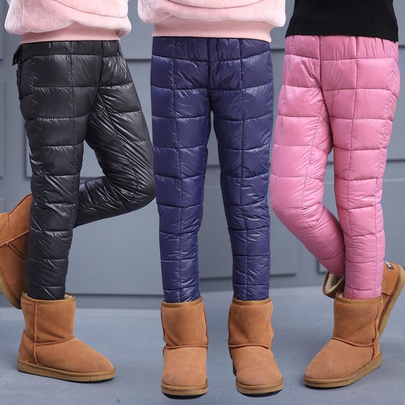 Winter Children Clothes Down Cotton Clothing Boys Pants Girls Leggings Kids Warm Down Trousers Windproof Waterproof Snow Pants
