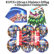 81pcs/set Boys Favors Game Theme Roblox Party Supplies Decorations Banner Kids Birthday Disposable Tableware Cup Plates Napkin
