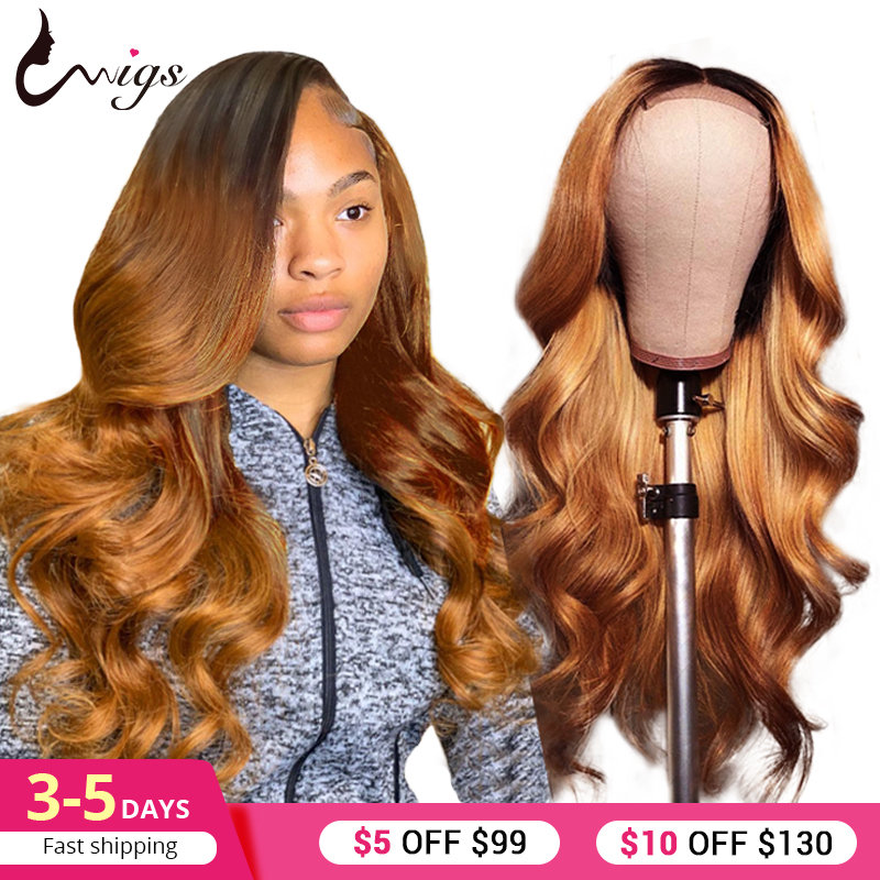 UWIGS Brazilian Body Wave Wig 1B 30 Ombre Lace Front Human Hair Wigs For Women 13x4 Inch Remy Colorful Hair Wigs Pre Plucked image