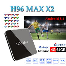 Belgium tv box H96 MAX X2 android 8.1 tv box 4GB 64GB 1080P H.265 S905X2 4K media Player smart tv box support Netflix youtube cenovo minipcs 4k 1080p tv box windows 10 z8350 4gb 64gb