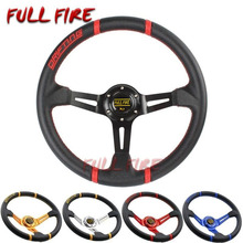 Car Universal 350MM leather steering wheel PVC Racing steering wheel sports High quality Auto parts modification 350mm real leather steering wheel universal 14 inch flat steering wheel with black spoke