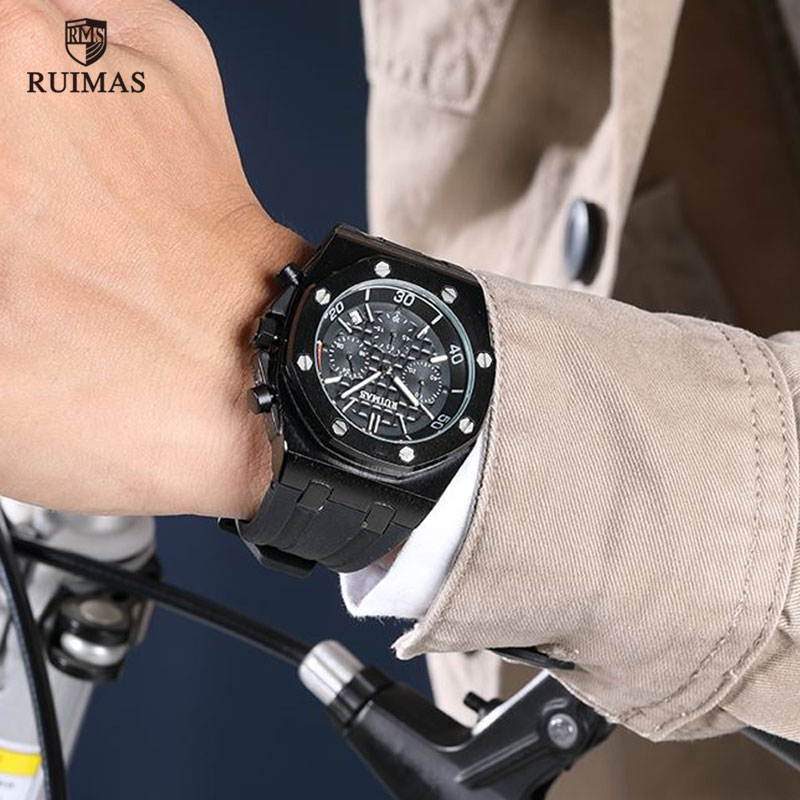 Image 4 - RUIMAS Chronograph Men Sport Watch Fashion Silicone Army Military Watches Relogio Masculino Quartz Wrist Watch Clock Men-in Quartz Watches from Watches