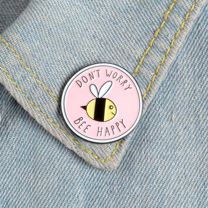 Novo rosa redondo inseto abelha broches não se preocupe abelha feliz esmalte pinos broche crianças lapela pino camisa saco distintivo broche bijoux