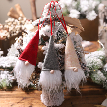2019 DIY Christmas decoration Xmas new year wine bottle cap Faceless doll Santa Claus christmas tree pendant 3pcs