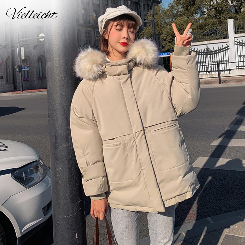 Vielleicht 2019 Jacket Women Winter Fashion Warm Thick Short Style Fur Hooded Cotton Padded   Parkas   Winter Jacket Women Coat