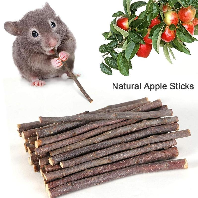 50g Small Pet Apple Molar Branches Rabbit Hamster Totoro Guinea Pig Parrot Chew Toy Pets Wood Sticks Twigs Cleaning Teeth Rod