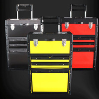 Three layer separate portable multi function trolley toolbox Portable hardware combination tool cart 3 colors optional ABS+ iron