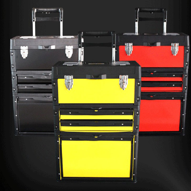 Three-layer Separate Portable Multi-function Trolley Toolbox Portable Hardware Combination Tool Cart 3 Colors Optional ABS+ Iron