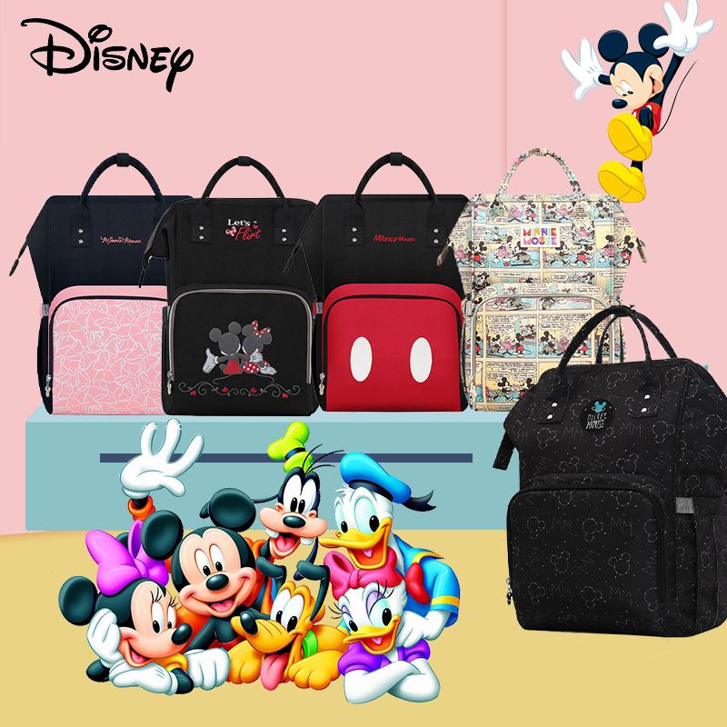 Disney Maternity Care Bags For Mom USB Baby Diaper Bag Organizer Waterproof Backpack For Stroller Disney Mommy Changing Wet Bags