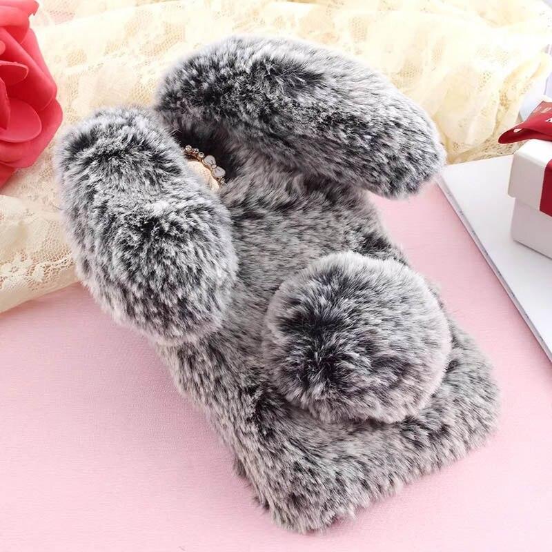 Fur Case For LG K30 2019 Warm Hairy Case For LG K30 2019 Plush 3D Rabbit Case For LG X2 2019 Diamond Fluffy Gel Soft Phone Case