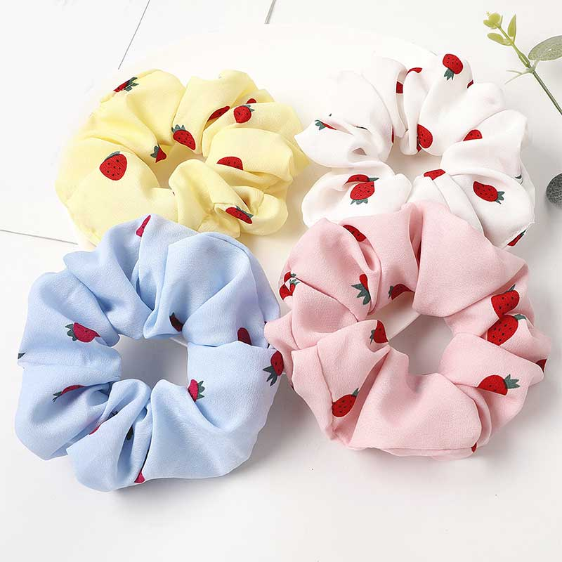 Small Strawberry Flower Printed Scrunchies Elastic Hair Ties Girls Sweet Pink Ponytail Hair Ropes Women Korean Hair Accessories