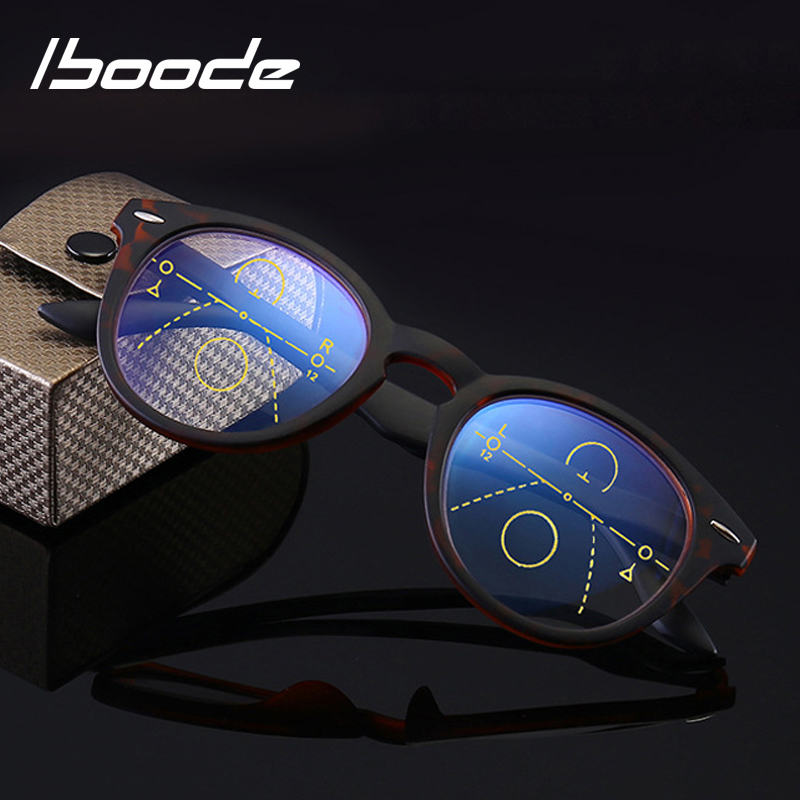 Iboode Multi Focal Progressive Reading Glasses Women Men Anti Blue Light Presbyopia Glasses Unisex Retro Round Eyewear +1.0to3.0