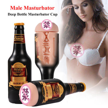 Male Masturbator Real Pussy Beer-Bottle Sex-Toys Realistic Vaginal Portable Aircraft Cup Soft Anal for