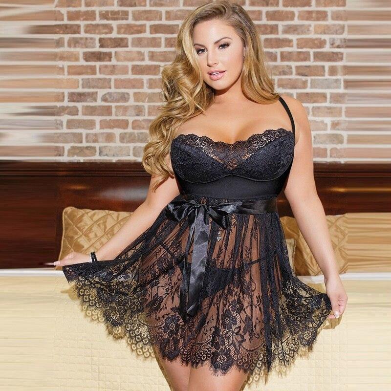 5XL Lace Sleepshirts Lingerie See Through Sexy Womens Sleepwear Night Dress Big Size 4XL Femme Homewear Hollow