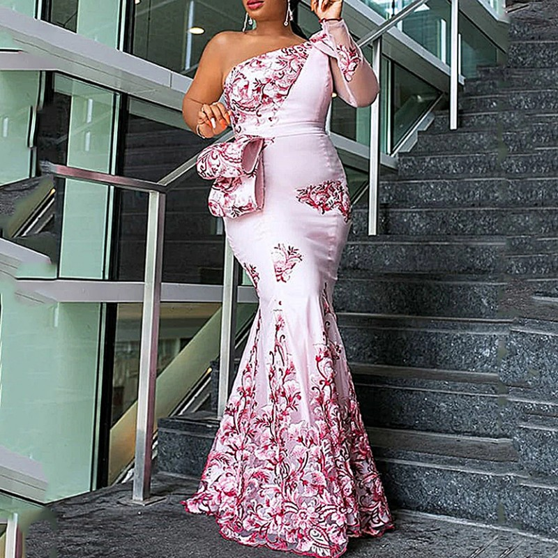 African Dresses For Women Ladies Long Party Mermaid Dress Sexy Transparent Mesh Ruffles Evening Bodycon Maxi Dress Trumpet
