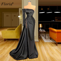 Plus Size Black Evening Dresses Long Dubai Beading Evening Gowns Robe De Soiree Formal Prom Dresses Evening Wear Party Gowns