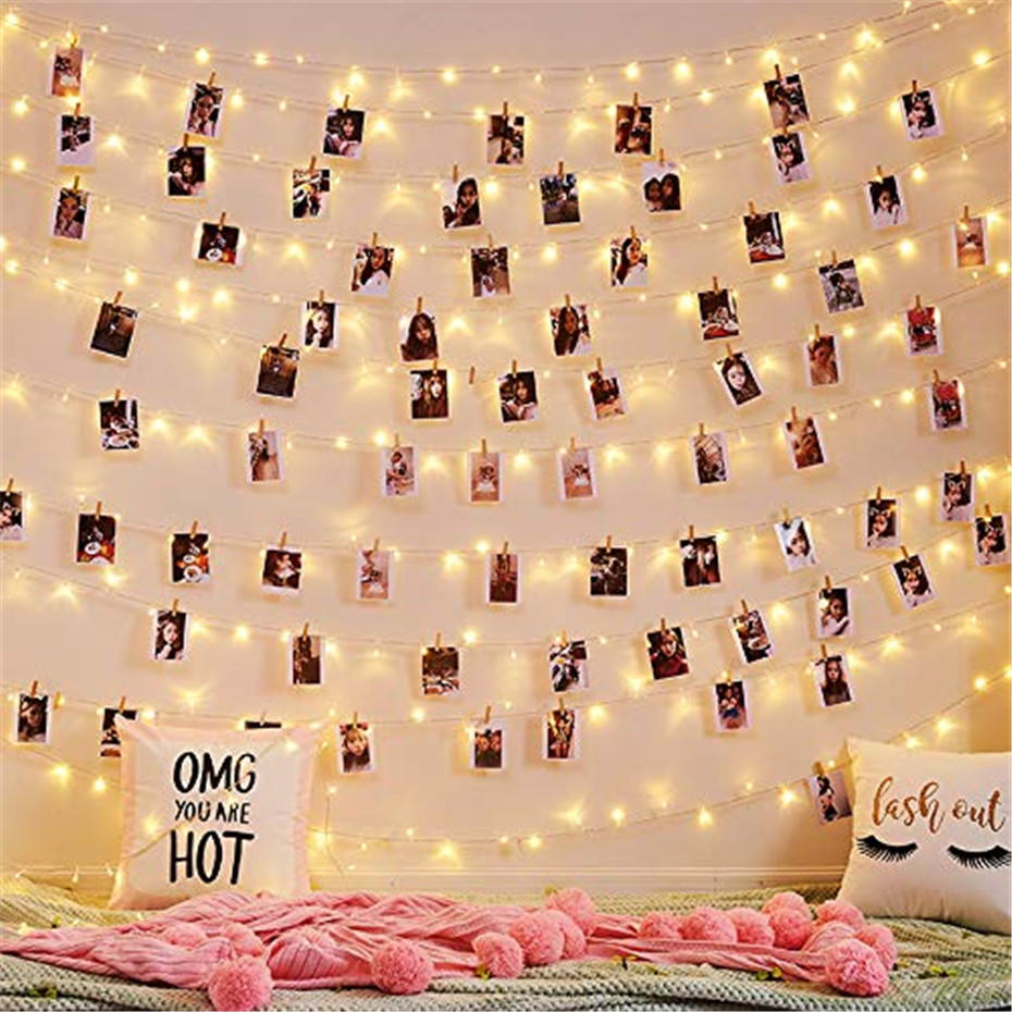 5M 10M LED String Lights Copper wire with Wooden Clothespins Battery Powered Garland for Photo Holder Christmas Wedding Birthday
