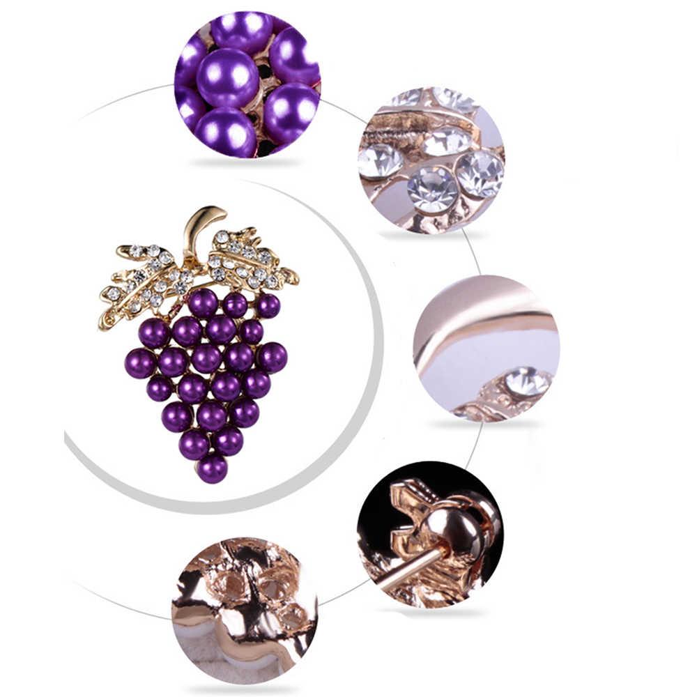 Simulasi Mutiara Anggur Bros untuk Wanita Gaun Pakaian Pins Hijab Klip Syal Gesper Pin Perhiasan Aksesoris
