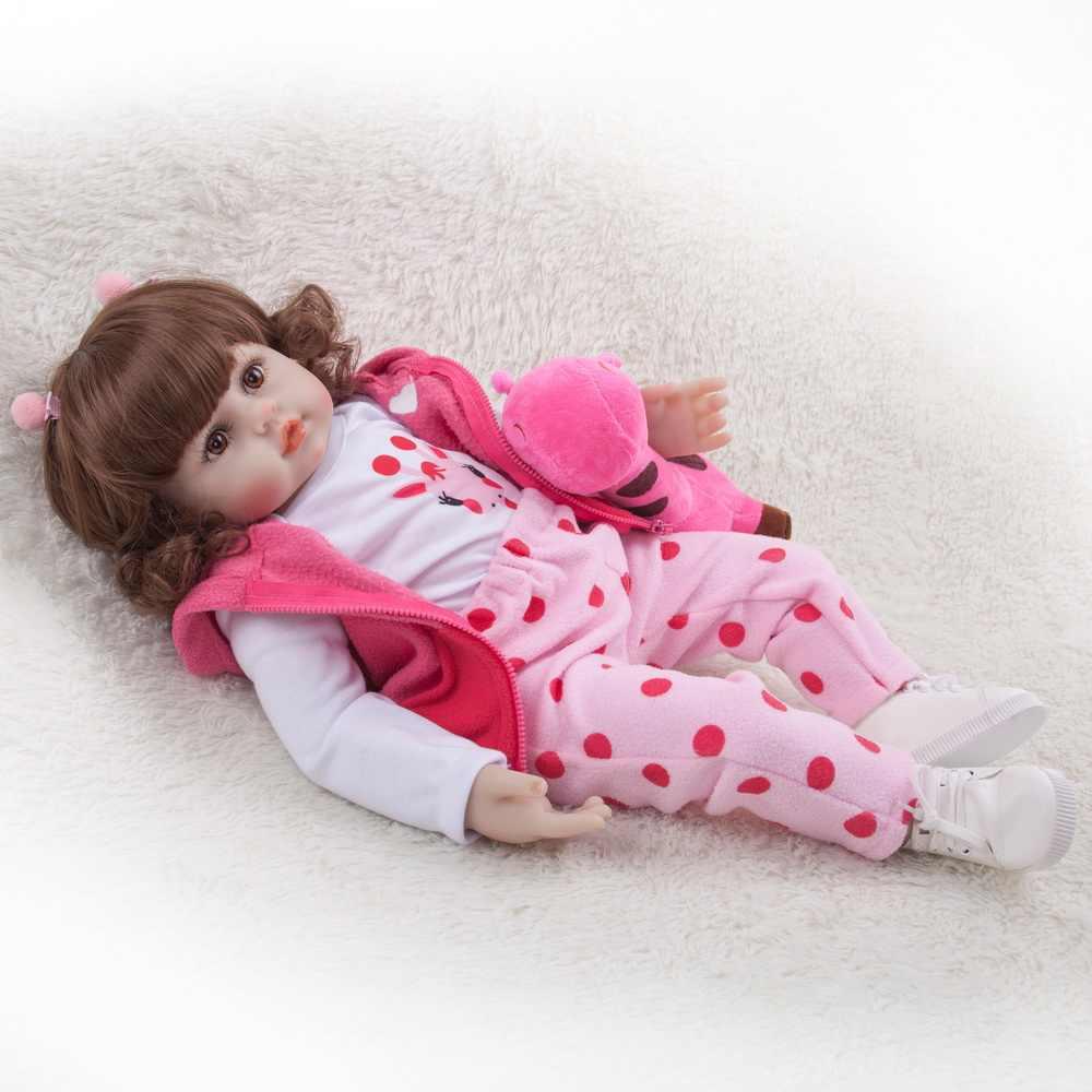 48 centímetros Boneca Reborn Silicone Renascer Baby Dolls Com Corpo De Silicone Menina Bonecas Do Bebê do Aniversário Dos Miúdos Presente de Natal