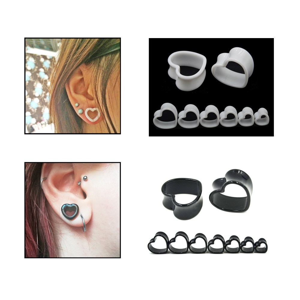 Pair 3D Red Love Heart Punk Flare Ear Plugs Flesh Tunnel Tunnels Stretcher Taper