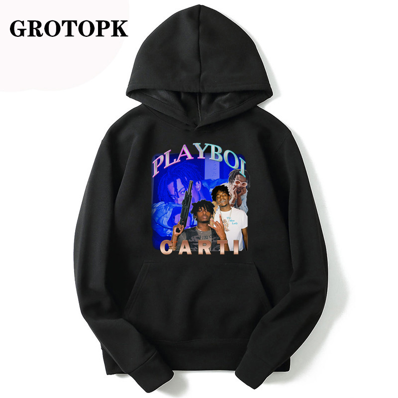 Casual Male Playboi Carti Vintage Hoodies Cool Graphic Print Man Big Size Autumn Hooded Coat For Men Women