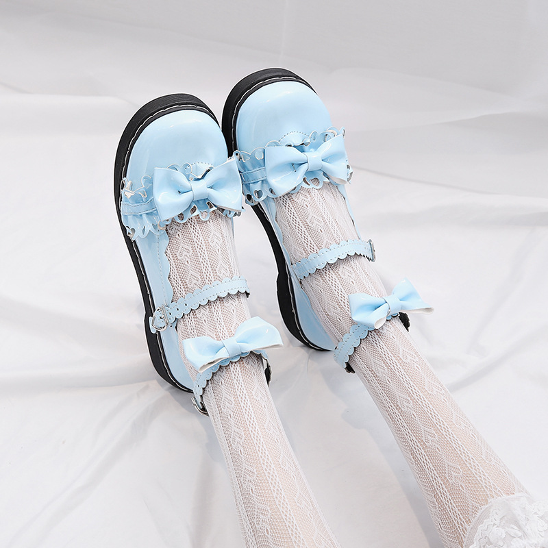 2019 LoveLive Japanese Student Lolita Shoes College Girl Shoes JK Commuter Uniform Shoes PU Leather Shoes