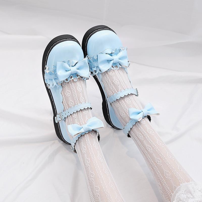 2019 LoveLive Japanese Student Lolita Shoes College Girl Shoes JK Commuter Uniform Shoes PU Leather Shoes