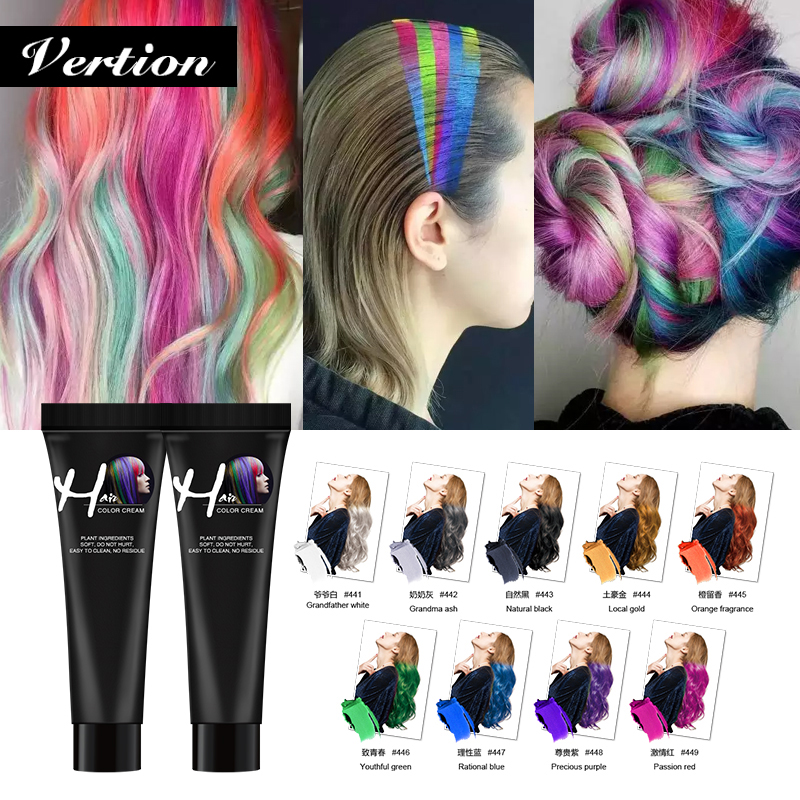 Verntion No Irritation Natural Hair Cream Color Dye Temporary Hair Styling No Odor Hair Color Cream Neutral Hair Tint Colorant
