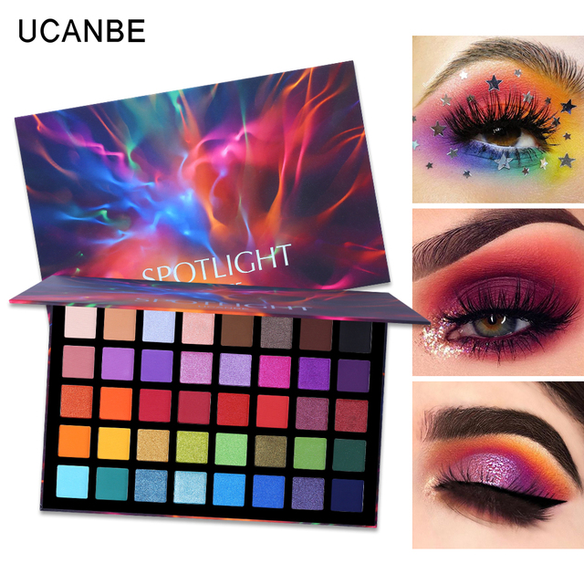 UCANBE 40 Colors Spotlight Eyeshadow Palette Shimmer Matte Pigmented Color Payoff Eye Shadow Powder Makeup Galaxy Eyeshadow Kit