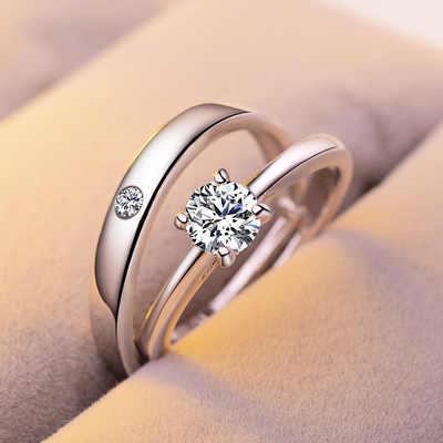 חדש 1 סט למכור מתכוונן אוהבי זירקון אירוסין טבעות לנשים אופנה צבע כסף חתונת טבעות קריסטלים אוסטריים טבעות
